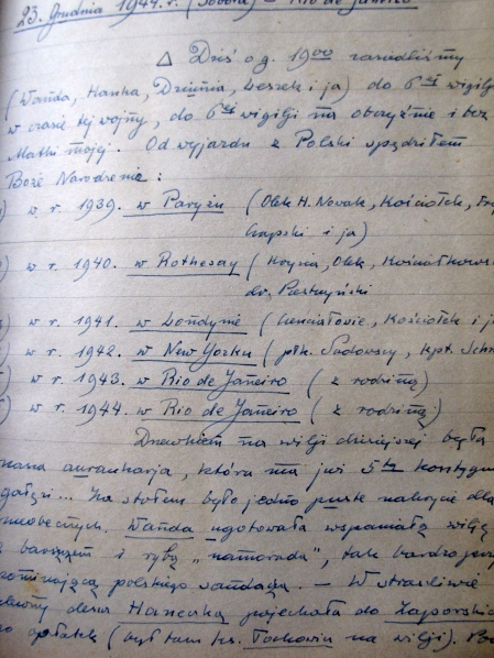 Diary Page December 23rd 1944